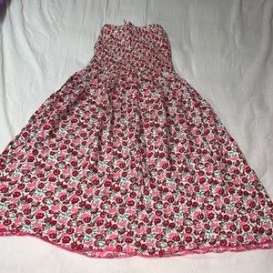 Sleeveless/strapless Floral Dress in Pink X-Small